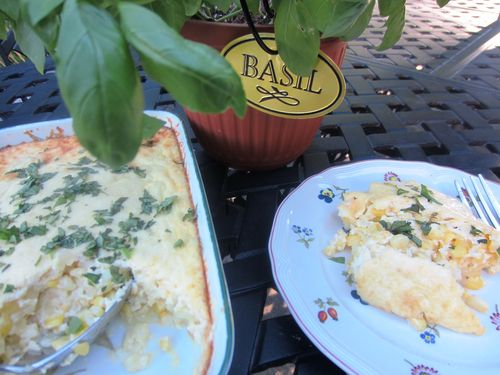 Corn Bread Casserole with basil