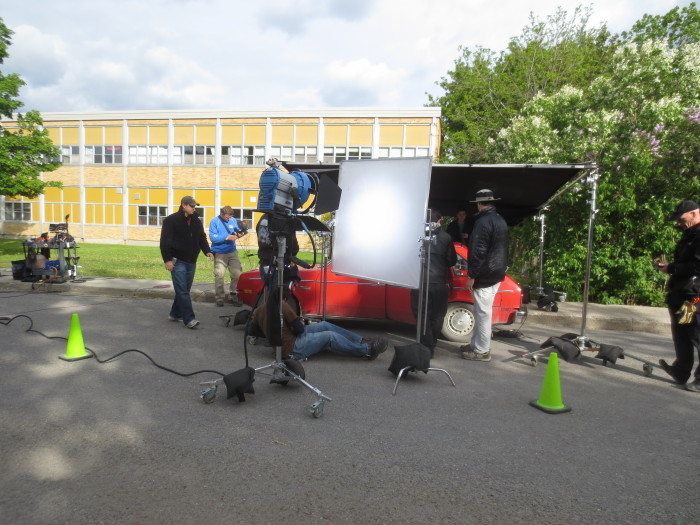 Movie action for Clara's Deadly Secret beside Almonte District High School on Saturday, May 25.