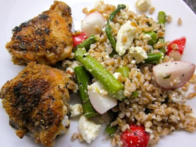 chicken thighs with farro