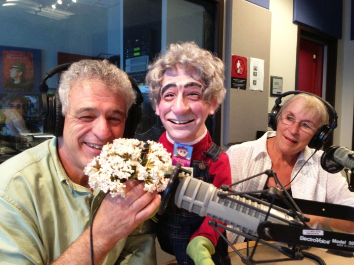 left to right: Ed Lawrence, Ed Lawrence puppet, Noreen Young