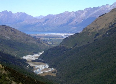 Looking down into the valley of the Rees River