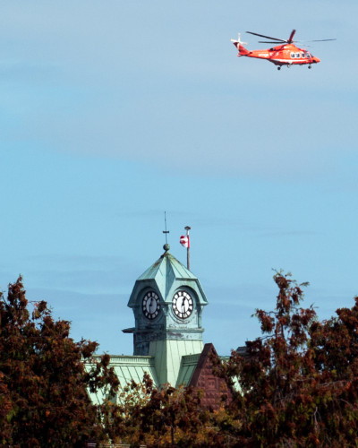 Air ambulance flies over town following accident