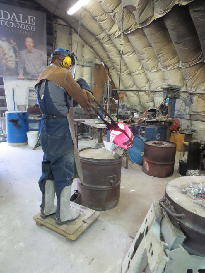 Dale Dunning of Lost & Foundry uses the lost wax technique for fine art bronze casting.  In this 2012 photo he pours molten bronze to create a sculpture.
