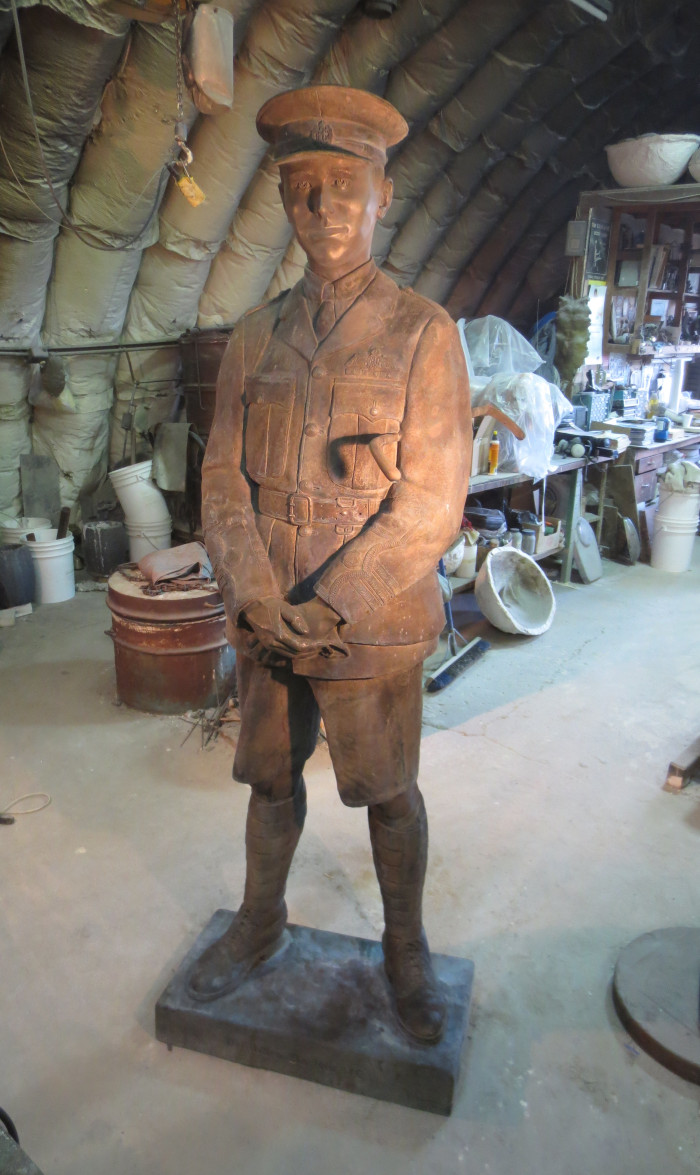 In the warm glow of spot lights at Lost & Foundry, the nearly completed bronze statue of Lieutenant-Colonel Barker awaited the final steps of preparation on November 8.