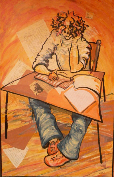 Boy writing exam, blue pants (v.2), mixed media