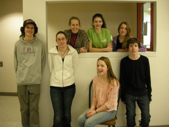 Andrew Paul, Annie Gray, Jenny Sheffield, Sarah Paul, Gillian Bentley, Josh Thompson.  Seated is Molly Gray.  Missing is teacher Paula Jones.
