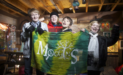 """""""Local actors (from left) Jack Dillabough, Aaron Phillips, Kyle Meagher, and Frances O'Neill working with local production company, GoFer Productions on the trailer of Maggins Mysteries, a new children's detective series."""""""