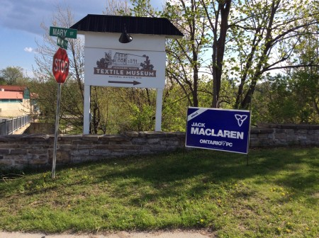 Jack McLaren PC candidate election sign sits at the corner of Mary and Main Streets in Almonte