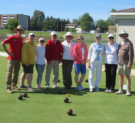 Dr. David Stevenson and staff with the Almonte Lawn Bowling Club instructors Denis Davignon (red jacket)and Cliff Bennett (brown sweater).  Photo: © Al Jones