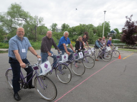 On Thursday before the afternoon sessions, representatives of eight municipalities (Brockville, Lanark Highlands, Mattawa, Mississippi Mills, North Grenville, Ottawa, Perth, Renfrew) posed at the start line for the Mayor's Slow Bike Race.