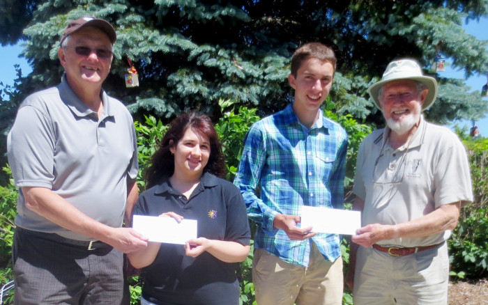 High school students Katelyn Cadieux (Notre Dame Catholic High School, Carleton Place) and Derek Oliver (Perth and District Collegiate) were each recipients of $600 Cliff Bennett Nature Bursary Awards for 2014. Presenting the awards on June 19th in Carleton Place were Mississippi Valley Field Naturalists Bursary Committee chair Mike Keffer (left) and MVFN President Cliff Bennett (right).