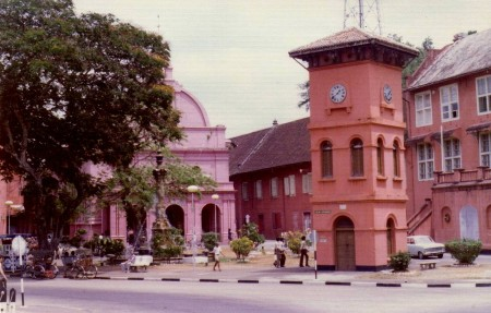 Malacca, the city built by the Dutch colonials, showing a predilection building with pink brick.