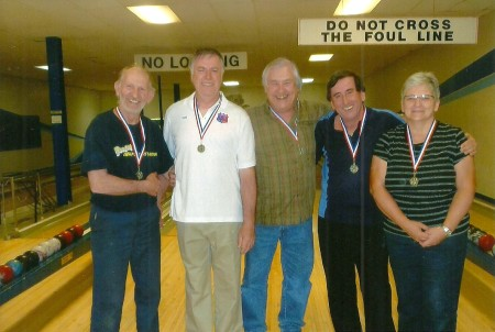 The Five pin Bowlers Gold team left to right: Howard Whitney,Guy Chaput,Mike  Sears,John Lapensee & Cathy Chaput.