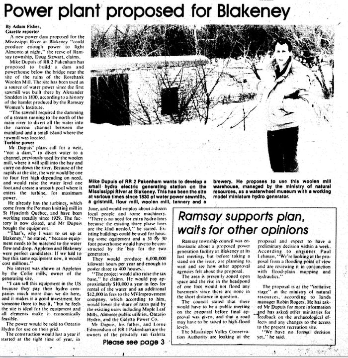 Almonte Gazette - Blakeney Power Plant