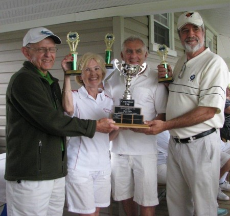 the three (3) game high score and Centennial Cup trophy winners from the Galetta Club. Draw Master Denis Davignon (far left) presenting the trophy to (left to right) Patricia Garvin, Skip, Bill Sheffield and team member Andrew Tait. Photo: © Kay Davignon, ALBC member.