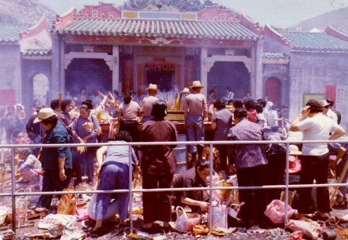 Tin Hau's temple, in the eastern district of Hong Kong, is the centre of her annual festival. People bring food and flowers and fireworks.