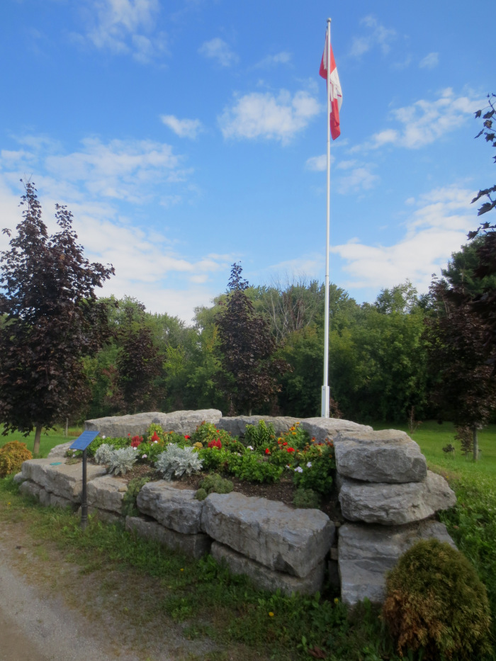 The flower bed at the flag pole along the Walkway is maintained by the Almonte and District Horticultural Society. Society volunteers plants tulip bulbs in the fall and annual for the summer.