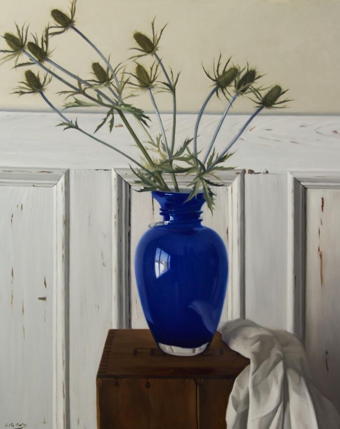 blue vase & thistles