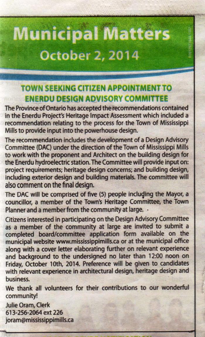 Enerdu Design Advisory Committee ad 001