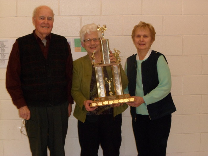 The Mississippi Mills trophy was awarded to Norm Fraser and Marian Fitzgibbon after they defeated Ruth Bowes and Ruth More .