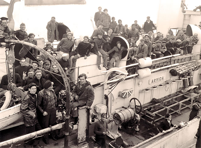 Survivors of a torpedoed merchant ship aboard HMCS Arvida at St. John's, September 1942. (Library and Archives Canada)