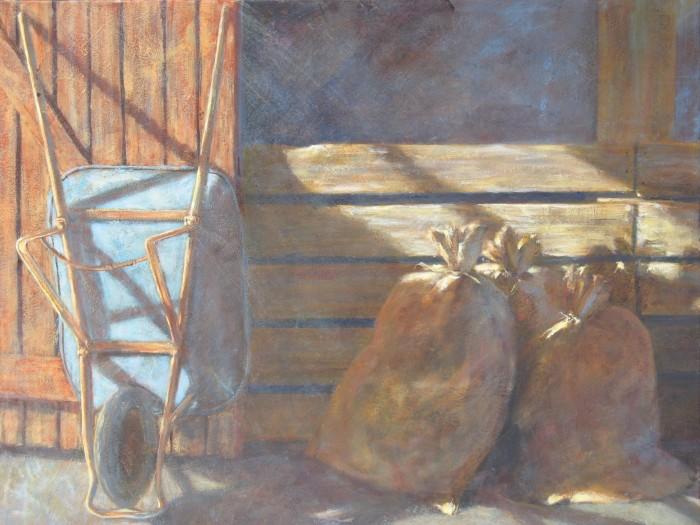 Wheel Barrow 36x30 inches Acrylic on Canvas