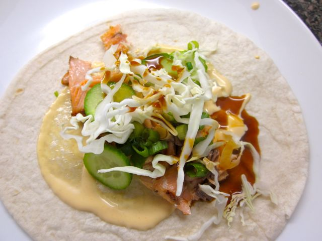 seared salmon taco