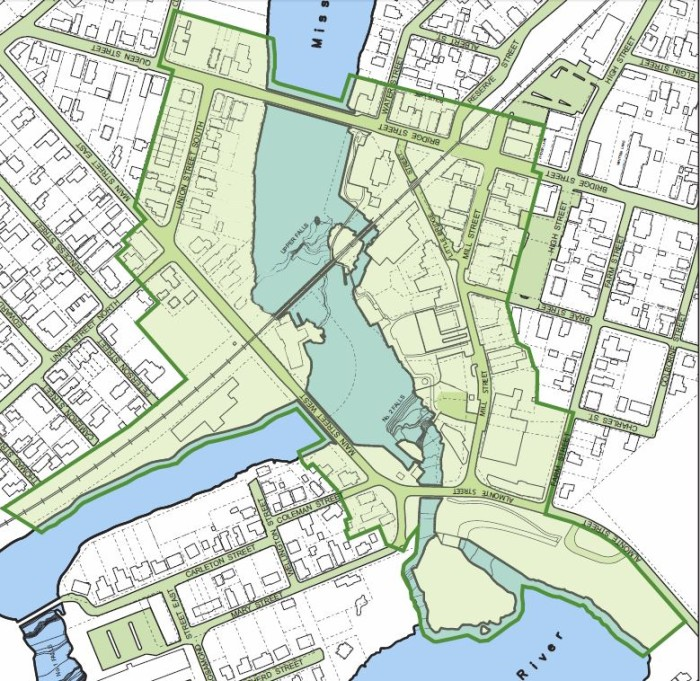 Green line indicates proposed Heritage District boundary