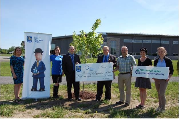 Regional and Local RBC Branches and Mississippi Valley Conservation Authority celebrated RBC Blue Water Day June 4th at MVCA Office in Carleton Place. left to right: Cindy Hobbs, Almonte RBC Branch Manager, Kyra Andersen, RBC Manager of Client Care, Matthew Breary, Carleton Place RBC Branch Manager, Glen Kelsey, RBC Rideau Lakes & Valley Regional Vice Present, Paul Lehman, MVCA General Manager, Alyson Symon, MVCA Watershed Planner, Mel Dodd-Moher , MVCA Environmental Technician