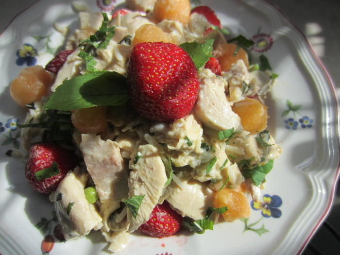 Chicken salad with melon strawberries and mint