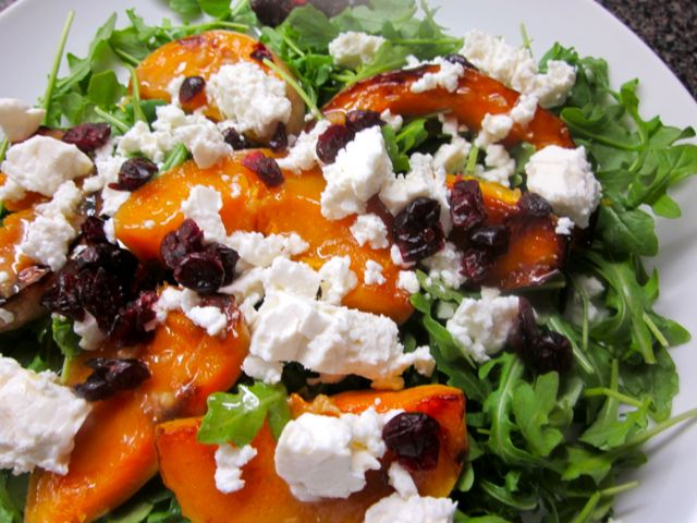 roasted squash with arugula and cranberries