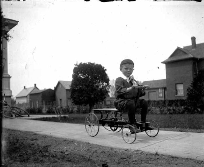 young boy on wagon
