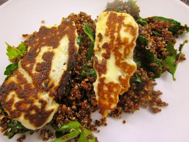 red quinoa, kale and halloumi salad