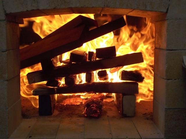 Fire box ablaze