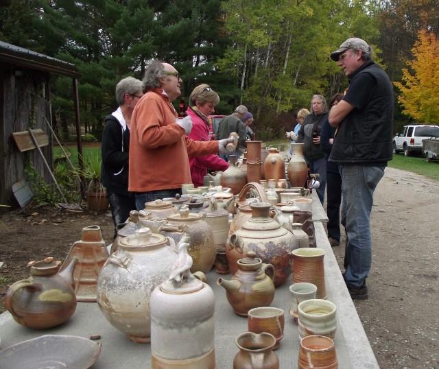 Perusing pots at Pinecroft