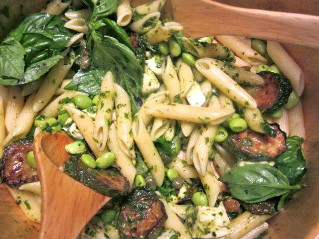 pasta with fried zucchini