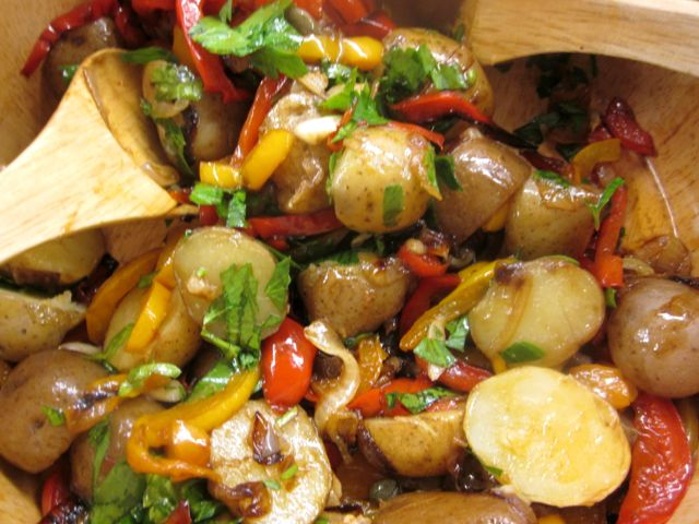 sweet and sour potato pepper salad