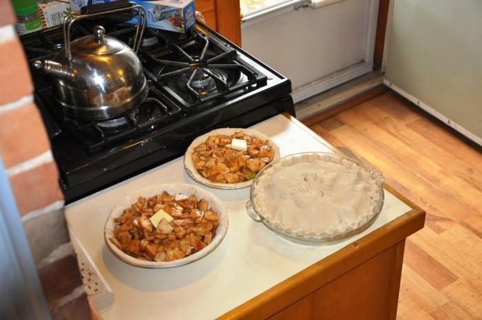 Apple pies in progress