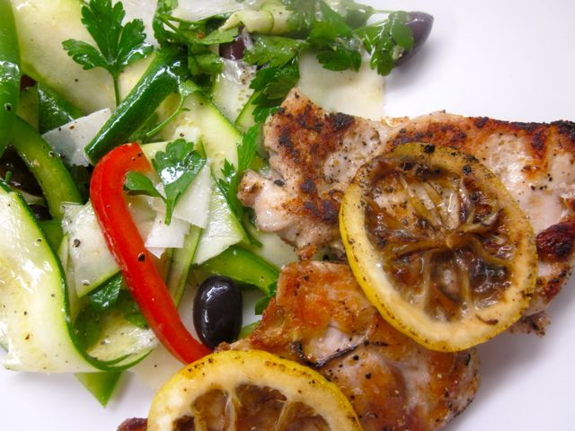 cutlets with zucchini salad